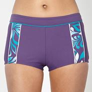 Purple panel short bikini bottoms