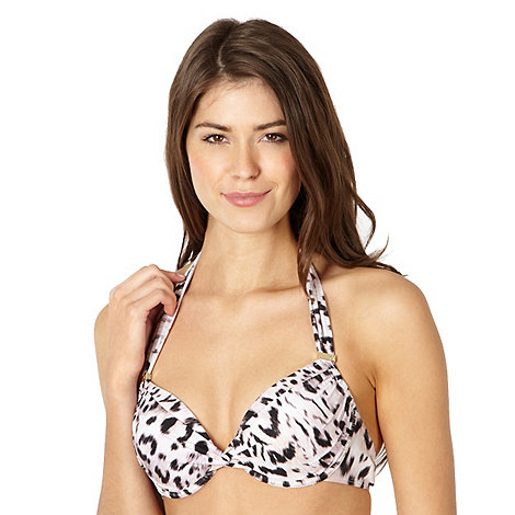 Reger by Janet Reger - Designer beige leopard digital halter tie bikini top