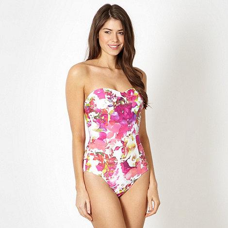 Reger by Janet Reger - Designer pink digital floral bandeau tummy control swimsuit