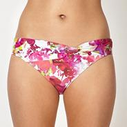Designer pink digital floral twist bikini bottoms