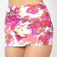 Designer pink digital floral twist skirt bikini bottoms