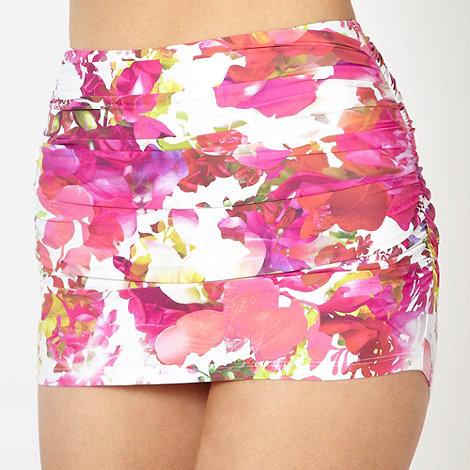 Reger by Janet Reger - Designer pink digital floral twist skirt bikini bottoms