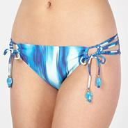Designer blue haze print tie side bikini briefs