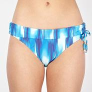 Designer blue haze print fold over bikini pants
