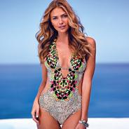 Designer natural feathered print cut out swimsuit