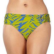 Designer green leaf fold bikini bottoms
