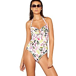 Mantaray - White floral print halter neck swimsuit