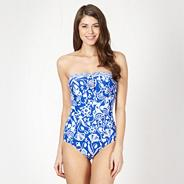 Blue mix and match floral tummy control bandeau swimsuit