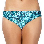 Turquoise snakeskin folded bikini bottoms