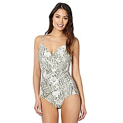 Beach Collection - Cream reptile print wrap front tummy control swimsuit