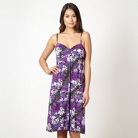 Beach Collection - Purple floral padded beach dress