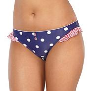 Navy spotted frilly bikini bottoms