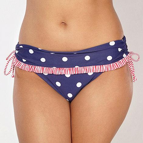 Gorgeous DD+ - Navy folded waistband spotted bikini bottoms