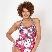 Navy floral spotted underwired tankini top