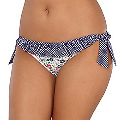 Gorgeous DD+ - White floral frill bunny tie side bikini bottoms