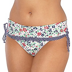 Gorgeous DD+ - White floral skirted bikini bottoms