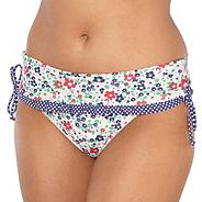 White floral skirted bikini bottoms
