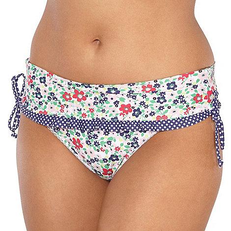 Gorgeous DD+ - White floral skirted bikini bottoms