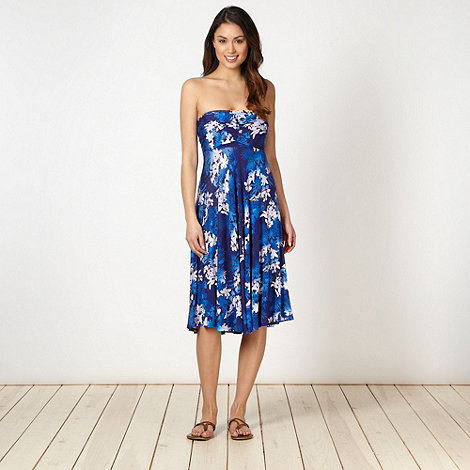 Beach Collection - Blue floral bandeau multiway beach dress