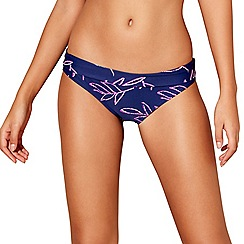 Beach Collection - Navy leaf print bikini bottoms