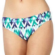 Designer green geo diamond print fold bikini bottoms