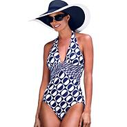 Designer blue spotted halterneck tummy control swimsuit