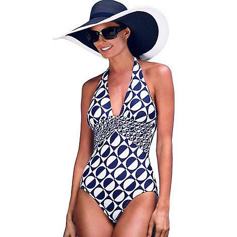 Principles by Ben de Lisi - Designer blue spotted halterneck tummy control swimsuit