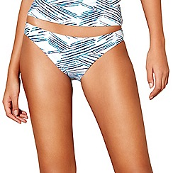Beach Collection - White stripe print bikini bottoms
