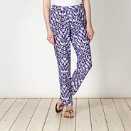 Purple ikat print trousers