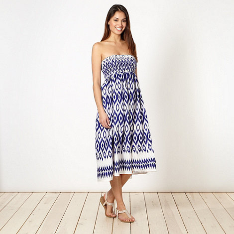 Beach Collection - Dark blue ikat shirred 2-in-1 skirt dress