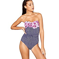 Beach Collection - Navy floral tile print halterneck swimsuit