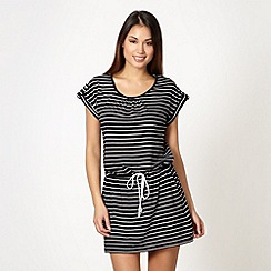 Beach Collection - Black striped drawstring tunic dress
