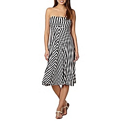 Beach Collection - Black striped jersey 4 in 1 beach dress