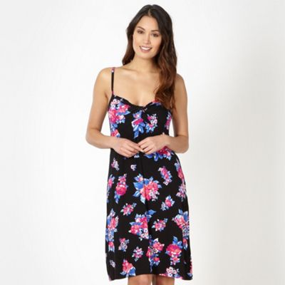Beach Collection Black floral twist front jersey beach dress - . -
