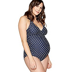 Beach Collection - Navy polka dot print maternity swimsuit