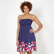 Blue spotted floral dress