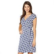 Designer blue spotted circle sun dress