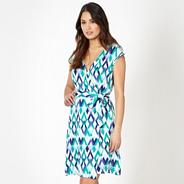 Designer blue diamond print wrap dress