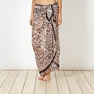 Designer beige leopard digital sarong