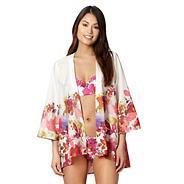 Pink floral photo kimono
