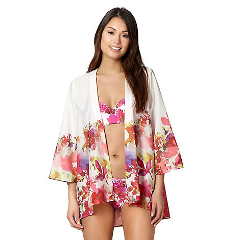 Reger by Janet Reger - Pink floral photo kimono