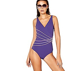 Beach Collection - Purple embroidered stripe swimsuit