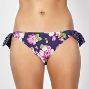 Navy flower bunny tie side bikini bottoms