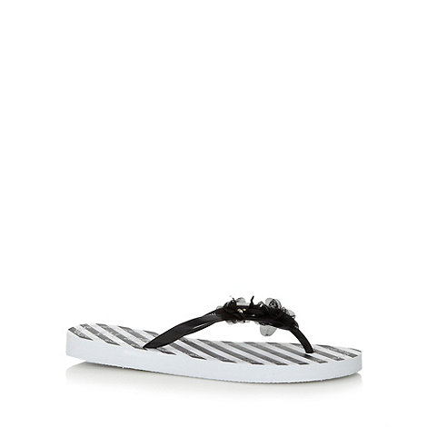 Beach Collection - Black striped corsage flip flops
