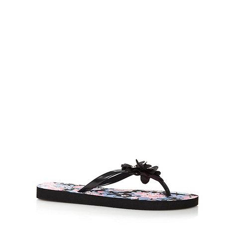 Beach Collection - Black floral flip flops