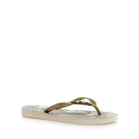 Beach Collection - Gold snakeskin pattern embellished flip flops