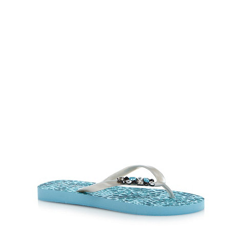 Beach Collection - Blue snakeskin pattern embellished flip flops