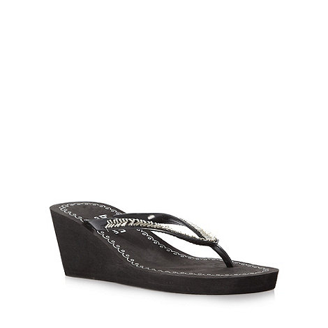 Beach Collection - Black wedge heeled beaded flip flips