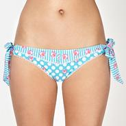Blue daisy spotted bunny tie side bikini bottoms