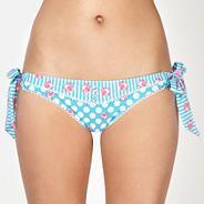 Blue daisy spotted bunny tie side bikini bottoms